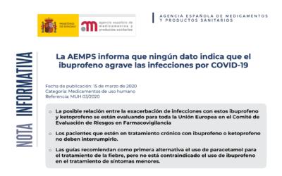 La AEMPS informa que ningún dato indica que el ibuprofeno agrave las infecciones por COVID-19