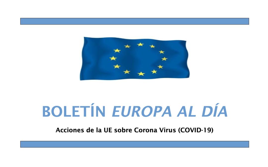 """Boletín """"Europa al Día"""" 490 – Acciones de la UE sobre el COVID-19"""